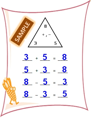 Fact family worksheet based on fact triangle - Addition ...